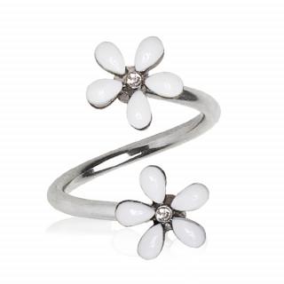 Piercing nombril spirale à fleurs blanches