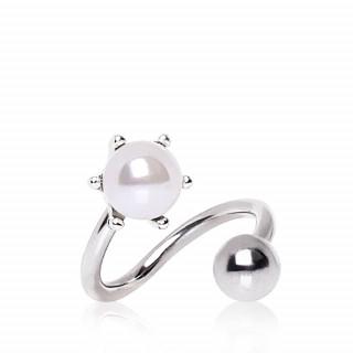 Piercing nombril spirale perle blanche