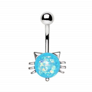 Piercing nombril tête de chat à opale bleue