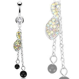Piercing nombril torsade sertie et perles