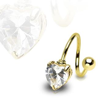 Piercing nombril twist plaqué or et pierre coeur