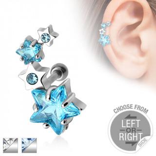 Piercing oreille cartilage courbé avec quatuor d'étoiles serties