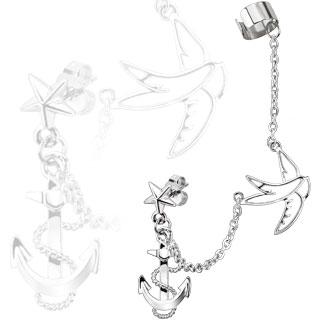 Piercing oreille étoile, ancre de marine et goeland enchainés