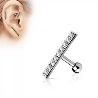 Piercing oreille grande barre grise pavée de strass