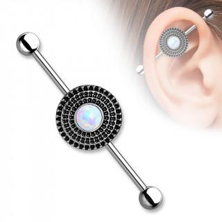 Piercing oreille industriel à disque antique avec Opale