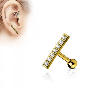 Piercing oreille plaqué or à barre pavée de strass