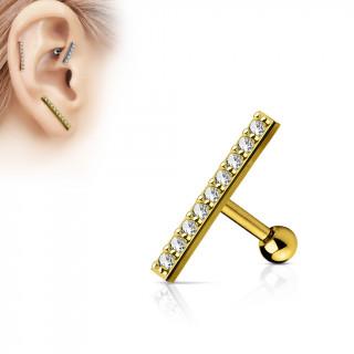 Piercing oreille plaqué or à grande barre pavée de strass