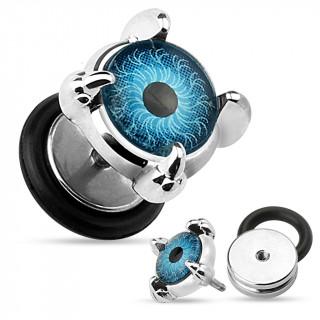 Piercing oreille style faux plug à oeil bleu et griffes