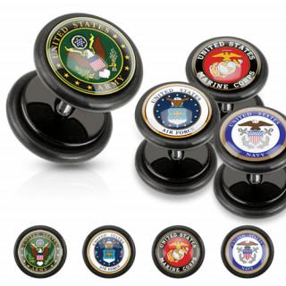 Piercing oreille style faux plug avec emblème militaire américain