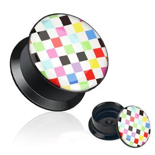 Piercing plug à damier multi-colores
