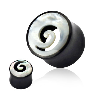 Piercing plug corne noire et abalone en tourbillon