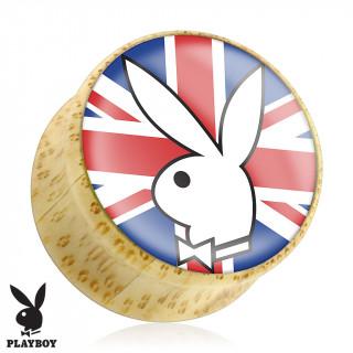 Piercing plug écarteur en bois Playboy avec lapin sur drapeau Royaume uni