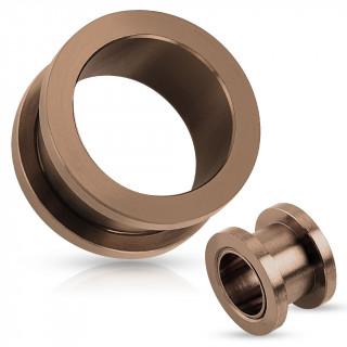 Piercing plug écarteur type tunnel en acier teinté bronze