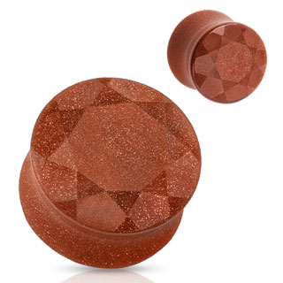 Piercing plug en pierre Golden sand facettée