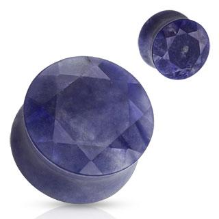 Piercing plug en pierre Sodalite facettée