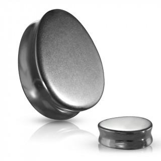 Piercing plug goutte en Hematite (pierre semi-précieuse)