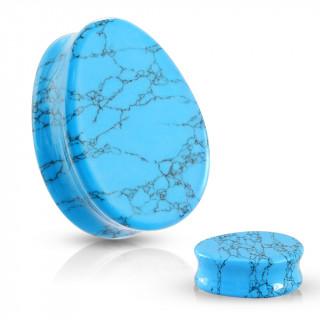 Piercing plug goutte en Turquoise (pierre semi-précieuse)