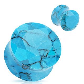 Piercing plug pierre semi-précieuse Turquoise facettée