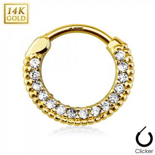 Piercing septum en or jaune 14 carats cerclé de strass à bords perlés