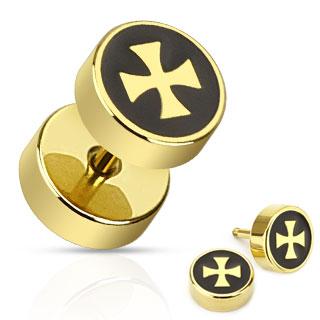 Piercing style faux plug doré et noir avec croix de Malte