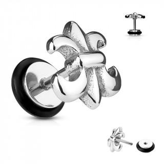 Piercing style faux plug fleur de lys acier