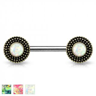 Piercing téton à disques pointillés avec opales