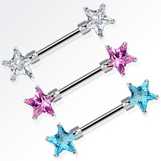 Piercing téton à pierres en étoiles