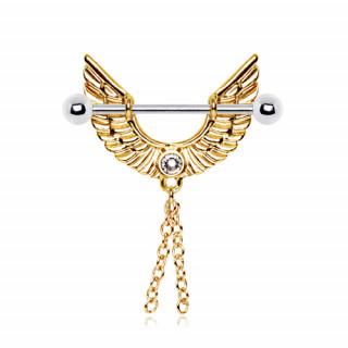 Piercing téton ailes d/'ange doré
