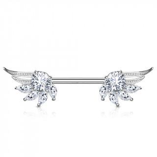 Piercing téton ailes d'ange majestueuses à strass