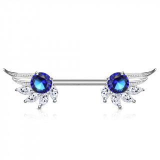 Piercing téton ailes d'ange majestueuses à strass clairs et bleu