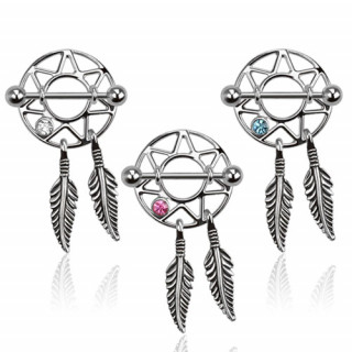 Piercing téton avec étoile cerclée et plumes métalliques
