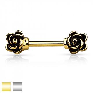 Piercing téton barbell avec fleurs vintages aux extrémités