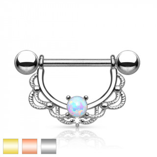 Piercing téton barbell en acier à arc en laiton décoré avec opale synthétique