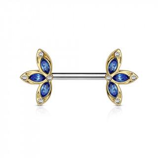 Piercing téton barre acier trois pétales dorées et bleues serties de cristaux