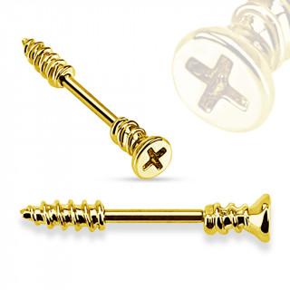 Piercing téton barre vis cruciforme dorée