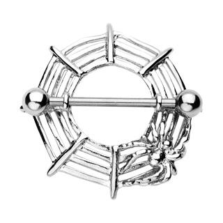 """Piercing téton """"bouclier"""" toile et araignée"""