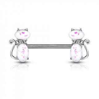 Piercing téton à chats élégants - Opales blanches rosées