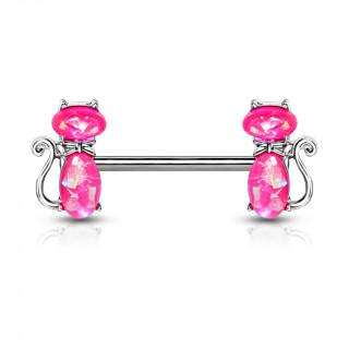 Piercing téton à chats élégants - Opales roses