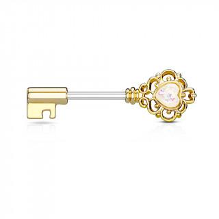 Piercing téton clé baroque dorée à coeur d'opale