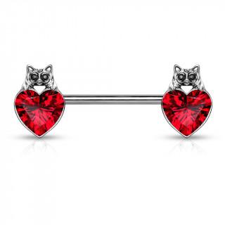 Piercing téton à coeur cristal et tête de chat - Rouge
