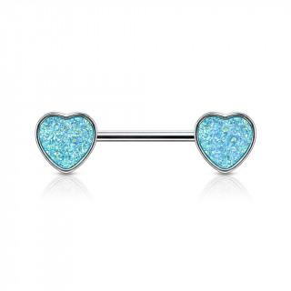 Piercing téton coeurs à druse bleu aqua