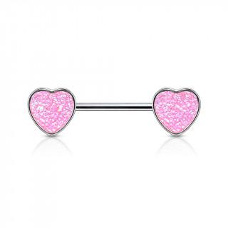 Piercing téton coeurs à druse rose