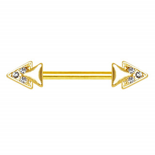 Piercing téton doré à pointes doubles serties