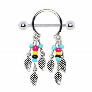 Piercing téton double pendentif style amérindien