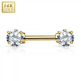 Piercing téton en or jaune 14 carats avec zirconiums