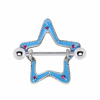 Piercing téton étoile bouclier émaillée bleu à strass