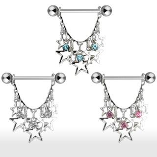 Piercing téton pendentif d'étoiles et pierres.