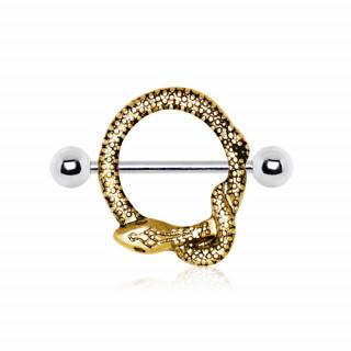Piercing téton serpent doré