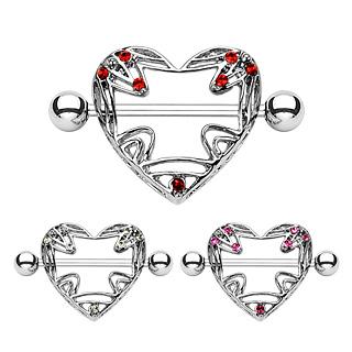 Piercing téton style bouclier en coeur