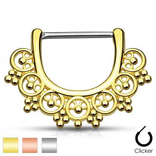Piercing téton style éventail tribal à petites perles